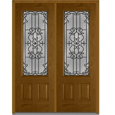 72 in. x 96 in. Mediterranean Decorative Glass 3/4 Lite Finished Oak Fiberglass Double Prehung Front Door Product Photo