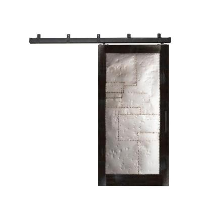 42 in. x 84 in. Steampunk Matte Black Metal Barn Door with Box Rail Sliding Door Hardware Kit Product Photo