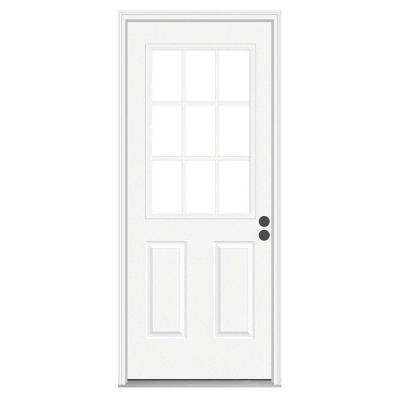 36 in. x 80 in. 9 Lite Primed Premium Steel Prehung Front Door with Brickmould Product Photo