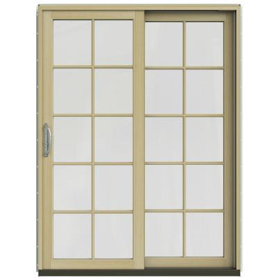 59-1/4 in. x 79-1/2 in. W-2500 Arctic Silver Prehung Right-Hand Clad-Wood Sliding Patio Door with 10-Lite Grids Product Photo