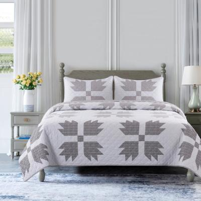 Bear Claw Taupe Microfiber Quilt Set