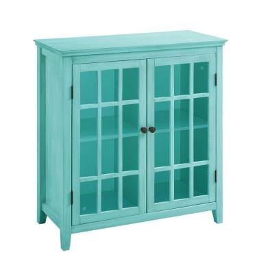 Largo Glass Double Door Cabinet in Antique Turquoise Product Photo