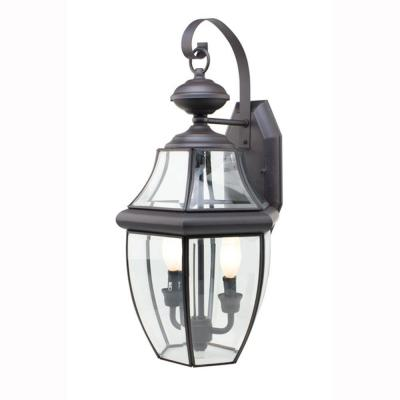Bel Air Lighting Contemporary 2-Light Outdoor Black Coach Lantern with Clear Glass