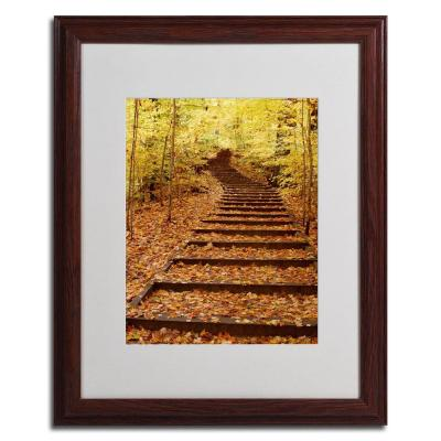 16 in. x 20 in. Fall Stairway Dark Wooden Framed Matted