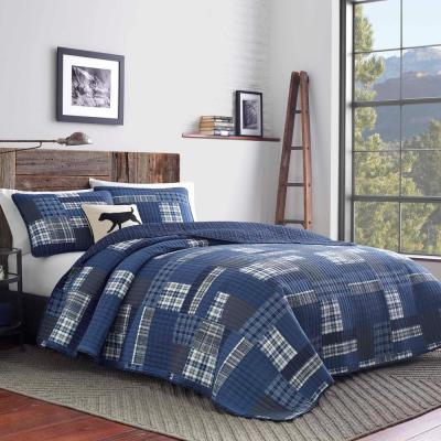 Eastmont Navy Plaid Quilt Set