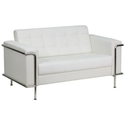 Flash Furniture Hercules Lesley Series Contemporary White Leather Loveseat with Encasing Frame