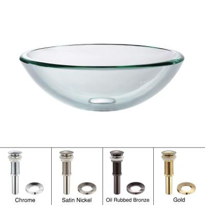 Vessel Sink in Clear Glass with Pop-Up Drain and Mounting Ring
