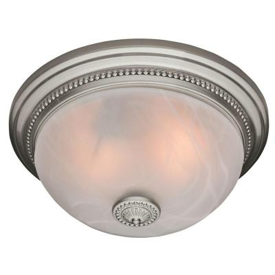 Hunter Ashbury Brushed Nickel 70 CFM Bath Fan with Beaded Detail and Swirled Marble Glass