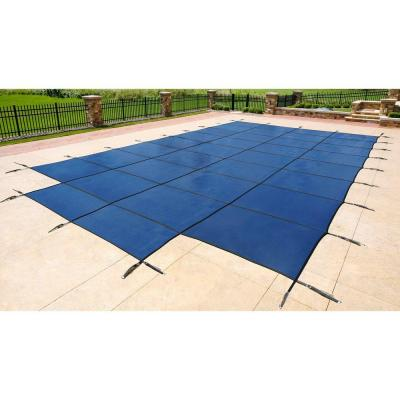 16 ft. x 32 ft. Rectangular Blue In-Ground Pool Safety Cover with 4 ft. x 8 ft. Center Step Product Photo