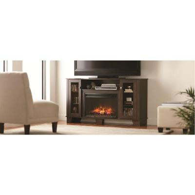 Home Decorators Collection Grand Haven 59 In Media Console Electric Fireplace In Dark Cherry