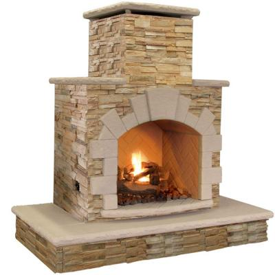 Cal Flame 78 In Brown Natural Stone Propane Gas Outdoor Fireplace Frp908 3 Apf The Home Depot