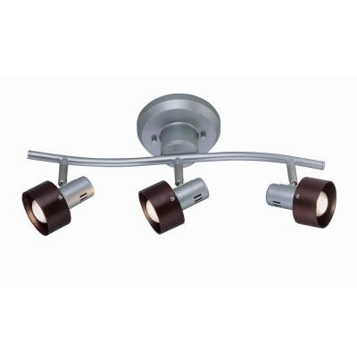 Designer Collection 3-Light 6.25 in. Silver Track Light with Dark Walnut