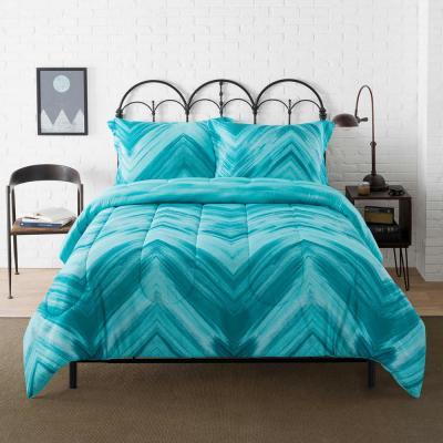Linden Teal Geometric Diamond Comforter Set