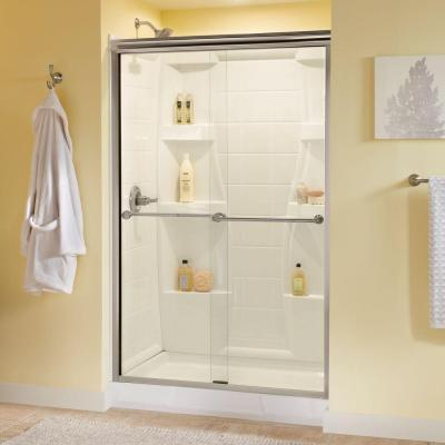 Delta Crestfield 47-3/8 in. x 70 in. Semi-Framed Bypass Sliding Shower Door in Brushed Nickel with Clear Glass