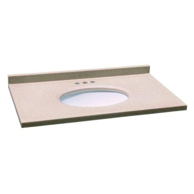 Design House 37 in. W x 22 in. D Solid Surface Vanity Top in Aurora with White Bowl