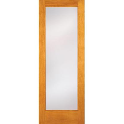 32 in. x 80 in. Privacy Woodgrain 1 Lite Unfinished Pine