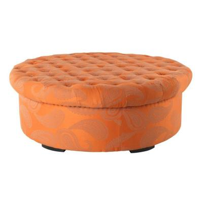 Home Decorators Collection Social 52 in. W Orange Paisley Ottoman