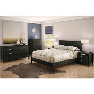 South Shore Gravity 2-Drawer Ebony Nightstand