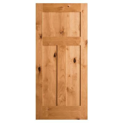 Krosswood Craftsman Rustic Knotty Alder 3-Panel Shaker Solid Core Interior Door Slab