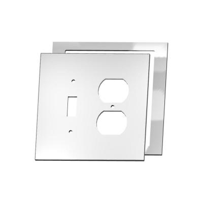 MirrEdge Acrylic Mirror 1 Toggle 1 Duplex Wall Plate with Clear Acrylic Spacer