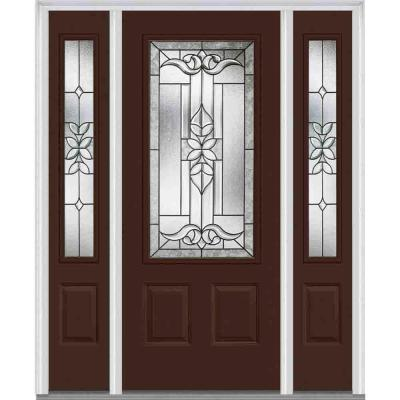 60 in. x 80 in. Cadence Decorative Glass 3/4 Lite Painted Majestic Steel Prehung Front Door with Sidelites Product Photo