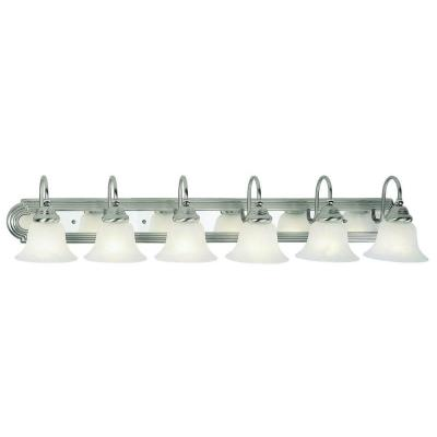 6-Light Brushed Nickel and Chrome Bath Light with White Alabaster Glass