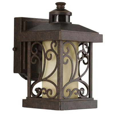 Progress Lighting Cypress Collection Wall-Mount Outdoor 1-Light Forged Bronze Motion Sensor Lantern