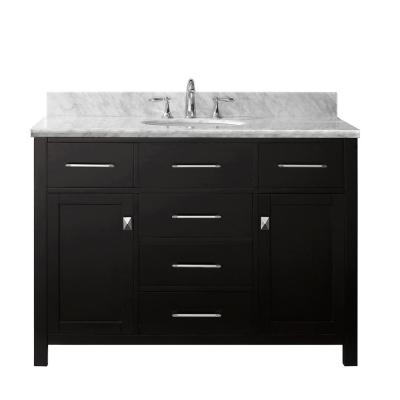 Virtu USA Caroline 48 in. W x 22 in. D Single Vanity in Espresso with Marble Vanity Top in White with White Basin