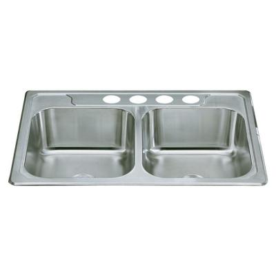 STERLING Middleton Drop-In Stainless Steel 33 in. 4-Hole Double Basin Kitchen Sink