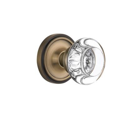 Nostalgic Warehouse Classic Rosette Interior Mortise Round Clear Crystal Glass Door Knob in Antique Brass