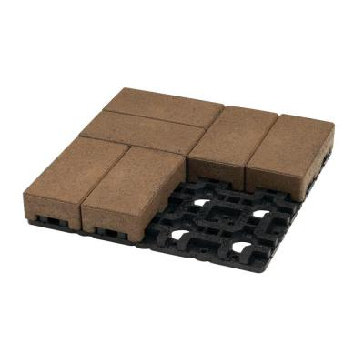 4 in. x 8 in. Olive Composite Standard Paver Grid System (8 Pavers and 1 Grid) Product Photo
