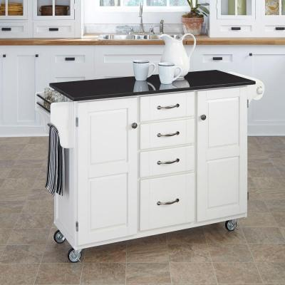 Home Styles Large Create-a-Cart in White with Black Granite Top