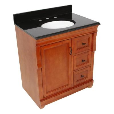 Foremost Naples 31 in. W x 22 in. D Vanity with Right Drawers in Warm Cinnamon with Granite Vanity Top in Black