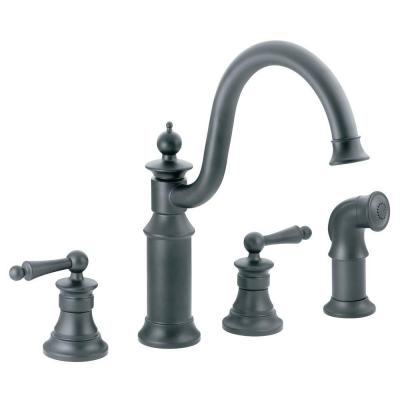 Waterhill High-Arc 2-Handle Standard Kitchen Faucet with Side Sprayer in Wrought