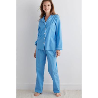 Solid Poplin Cotton Women's Pajama Set