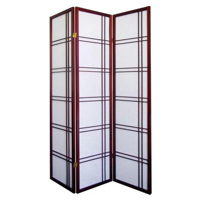 Home Decorators Collection Girard 3-Panel Natural-Fiber Room Divider in Cherry