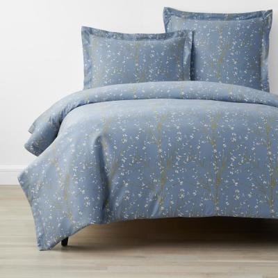 Company Cotton Thistle Blue Bamboo Sateen Duvet Cover