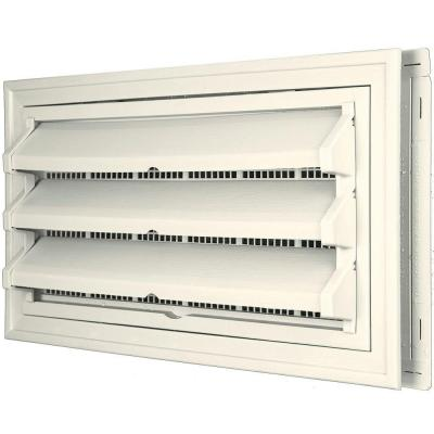 9-3/8 in. x 17-1/2 in. Foundation Vent Kit with Trim Ring and Optional Fixed Louvers (Molded Screen) in #034 Parchment Product Photo
