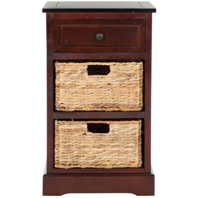 Carrie Side Storage Side Table in Dark Cherry