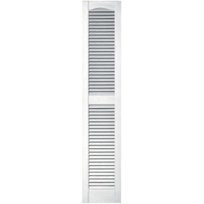 12 in. x 60 in. Louvered Vinyl Exterior Shutters Pair in #001 White Product Photo