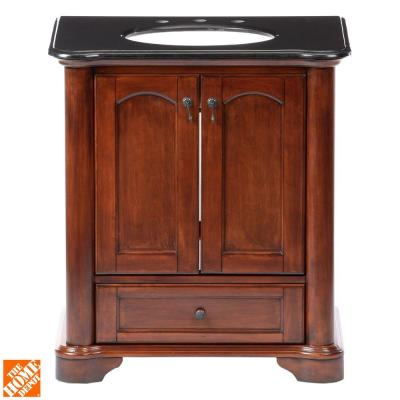 Pegasus Vermont 30 In Birch Vanity In Mahogany With Granite Vanity Top In Black With White Basin