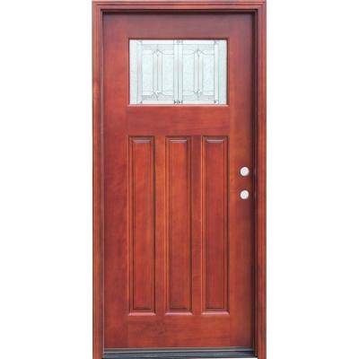Craftsman 1 Lite Stained Mahogany Wood Prehung Front Door