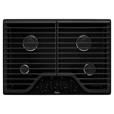 30 in. Gas Cooktop in Black with 4 Burners including 15000-BTU