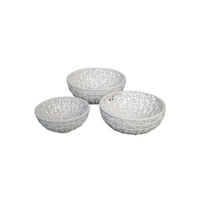 Home Decorators Collection 14 in. W Fiona White Pierced Bowls Set- Set Of 3