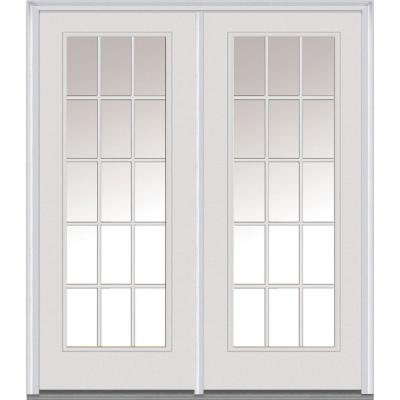 60 in. x 80 in. Classic Clear GBG Majestic Steel Prehung Left-Hand Inswing 15 Lite Patio Door Product Photo