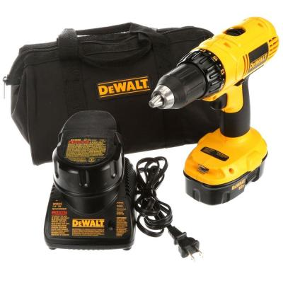 DEWALT 18-Volt NiCd Cordless 1/2 in. Compact Drill/Driver Kit with (2) Batteries 1.2Ah, Charger and Contractor Bag