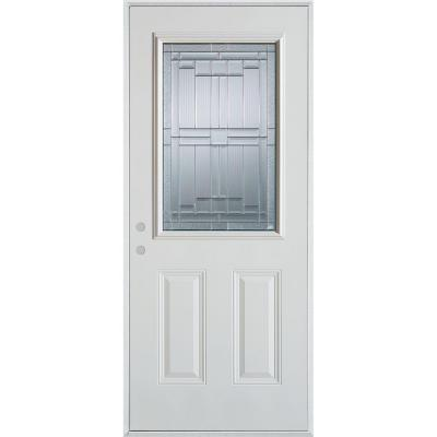 36 in. x 80 in. Architectural 1/2 Lite 2-Panel Prefinished White Steel Prehung Front Door Product Photo