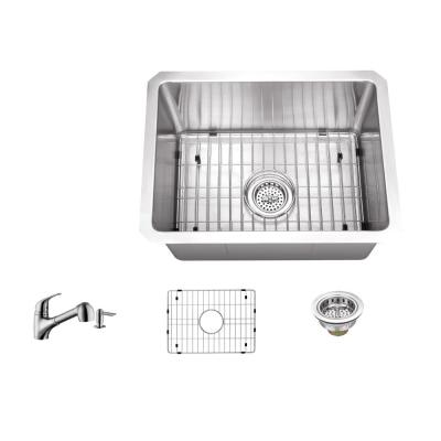 IPT Sink Company Undermount 15 in. 16-Gauge Stainless Steel Bar Sink in Brushed Stainless with Low Profile Pull Out Kitchen Faucet