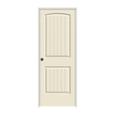 JELD-WEN 28 in. x 80 in. Molded Smooth 2-Panel Arch Plank Primed White Solid Core Composite Single Prehung Interior Door