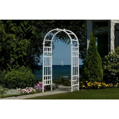 New England Arbors Athens 81 in. x 36 in. White Vinyl Arbor
